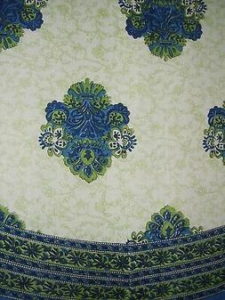 Mediterranean Style Round Cotton Tablecloth 88 Blue and Gree