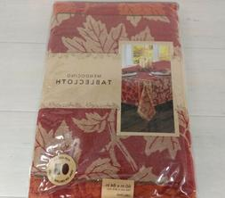 MENDOCINO 60x84 Oblong Tablecloth Fall Floral Leaves Thanksg