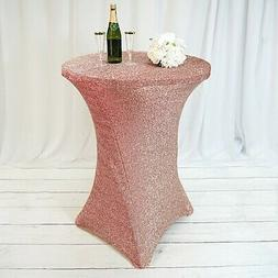Metallic Rose Gold COCKTAIL SPANDEX TABLE COVER Fitted Weddi