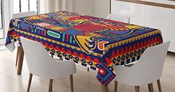 """""""Ambesonne Mexican Tablecloth, Aztec Culture Pattern Ethnic"""