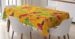 Ambesonne Mexican Decorations Tablecloth by, Elements with C