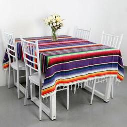 Mexican Serape Tablecloth Fringe Cotton Blanket Fiesta Party