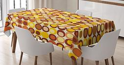 Ambesonne Mid Century Tablecloth, Kitsch and Retro Styled Ro