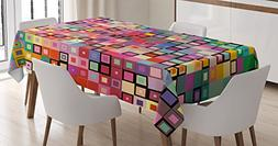 Ambesonne Modern Decor Tablecloth, Rainbow Like Colorful Des