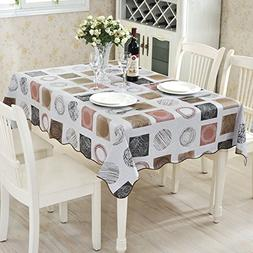 ColorBird Modern Scrawl Circles Flannel Backed PVC Tableclot