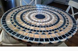 Mosaic Table Cloth Round Elastic Edge Fitted Vinyl Table Cov