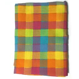 Multicolor Madras Rectangular Oblong Plaid Tablecloth Fabric