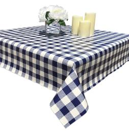 NAVY BLUE COLOR RECTANGULAR BURBERRY BOXES VINYL TABLECLOTH