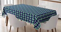 Ambesonne Navy Blue Decor Tablecloth, Cute Floral and Point