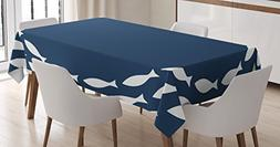 Ambesonne Navy Blue Decor Tablecloth, Ocean Navy Themed Scho