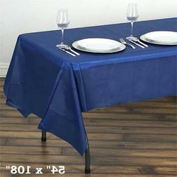 "Navy Blue RECTANGLE 54x108"" Disposable Plastic TABLE COVER T"