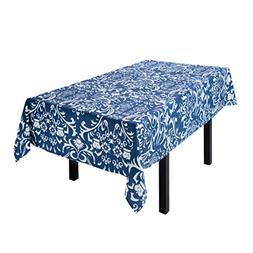 LinenTablecloth Navy Blue and White Rectangular Cotton Vinta