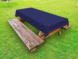 Navy Outdoor Picnic Tablecloth in 3 Sizes Washable Waterproo