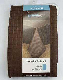 NEW! 52 x 70 True Living Rectangle Tablecloth Brown Weave Pa