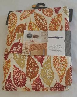 """New Threshold Autumn Fall Leaves Oblong Tablecloth 60"""" X 104"""