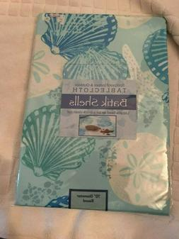 "New Benson Mills Batik Shells Tablecloth Ocean Blue, 70"" Rou"