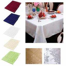 """New Damask Table Cloth Linens 52"""" X 70"""" Rectangular Cover Fl"""