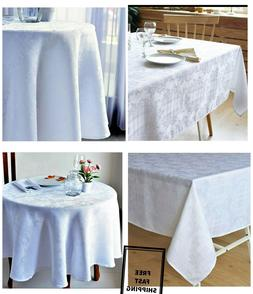 New Dinning Holiday Stain Resistant White Tablecloth for Chr