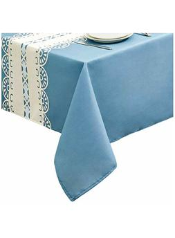 New Easter Spring Blue & Stripe SpillProof Tablecloth Home D