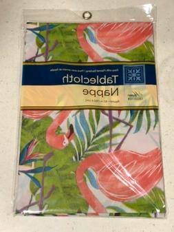 """NEW Home Collection Flamingo Tablecloth ROUND  60"""" Peva with"""
