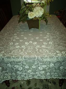New Ivory Holly Glow Lace Square Christmas Tablecloth 60 X 6