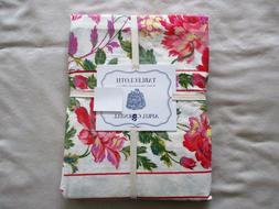 NEW April Cornell Linen Tablecloth Floral Pinks Red Green Ye