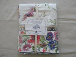 NEW April Cornell Linen Tablecloth Floral Purple Pink Green
