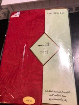 "New Old Stock Benson Mills ""VIENNA"" Red Damask TABLECLOTH ~"