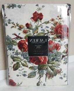 "NEW Ralph Lauren Red Roses Floral Cottage Tablecloth 60"" x 1"