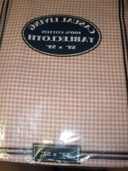 """NEW Casual Living tablecloth 52"""" X 52"""" square pink white che"""