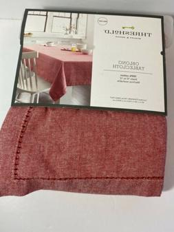 NEW Threshold Tablecloth Chambray Hemstitch Soft Red - 60 X