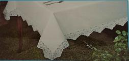 NEW VTG MONTGOMERY WARD WHITE FABRIC TABLECLOTH W/FLORAL LAC