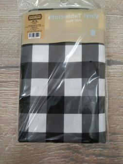 NIP Rectangle BLACK & WHITE Buffalo Plaid ✔ 52x70 Vinyl Fl