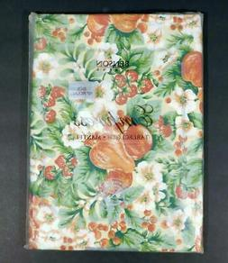 "NOS Benson Mills Empress FRUIT & FLOWERS TABLECLOTH ~ 70"" Ro"