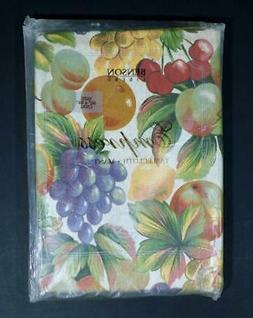 "NOS Benson Mills Empress FRUIT TABLECLOTH ~ 60"" x 84"" Oval"