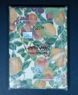 "NOS Benson Mills Empress FRUIT TABLECLOTH ~ 70"" Round"