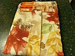 "NWT~cream~TABLECLOTH Rust FALLING LEAVES 60"" x 102"" Oblong A"