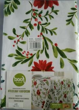 NWT Food Network Holiday Holly Poinsettia Stain Resistant Ro