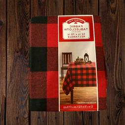 "NWT, Holiday Time Red Plaid Fabric Tablecloth 52"" x 70"""