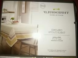 "Threshold Oblong Tablecloth 60x120"" Machine Washable NEW nip"