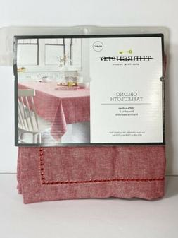 """Threshold Oblong Tablecloth Red Chambray Hemstitch  60"""" x 84"""