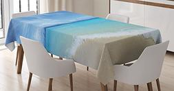 Ambesonne Ocean Decor Tablecloth, Exotic Beach Scenery with