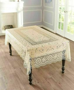 Old Fashioned Vintage Pattern Crotchet Lace Vinyl Tablecloth