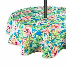 """DII Outdoor Tablecloth With Zipper 52"""" Round w, Summer Flora"""