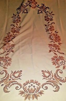Oval cream brown burnt orange cross stitch embroidered table