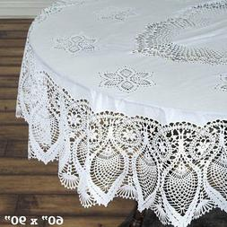 """OVAL PLASTIC TABLECLOTH 60x90"""" with Crocheted Lace Catering"""