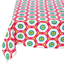 """Mahogany P104T9 Rectangle """"Aria"""" Printed Tablecloth, 60 by 9"""