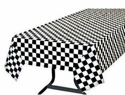 Pack 6 Black & White Checkered Flag Table Cover Party Favor/