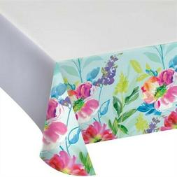 Painterly Floral Plastic Banquet Tablecloth Spring Flowers F
