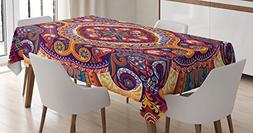 Ambesonne Paisley Decor Tablecloth, Arabic Ornamental Rug Pa